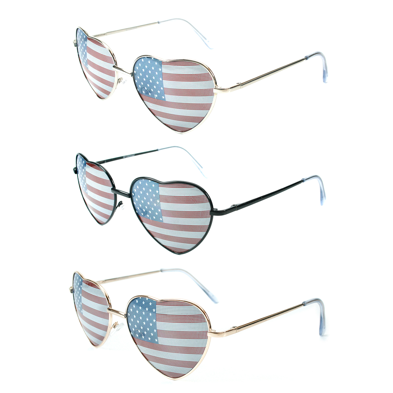 American Flag Sunglasses Heart Shape